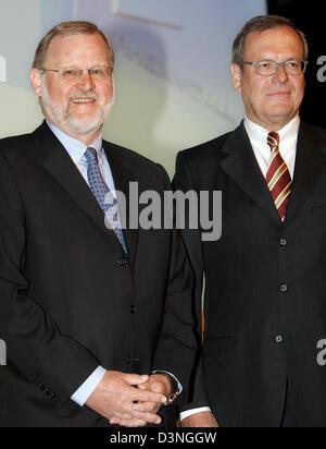 Klaus Greinert (L), head of the Rheinmetall AG supervisory board, and Klaus Eberhardt, CEO of Rheinmetall, pictured - Stock Photo