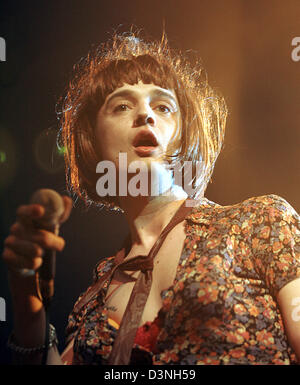 The frontman of the British band 'Babyshambles' Pete Doherty performs in women's cloth in Cologne, Germany, Saturday - Stock Photo