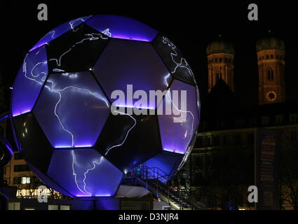 (FILE) - Austrian artist Heller's so-called 'Soccer Globe' is pictured in front of the Frauenkirche (Cathedral of - Stock Photo