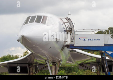 Concorde on display at Manchester Airport - Stock Photo