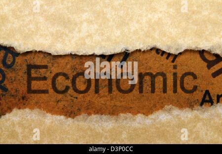 Economic text on grunge paper - Stock Photo