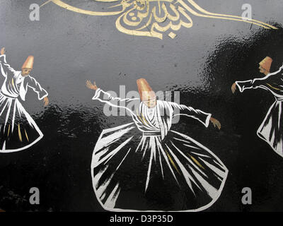 Whirling Dervishes, Restaurant sign, Istanbul, Turkey - Stock Photo
