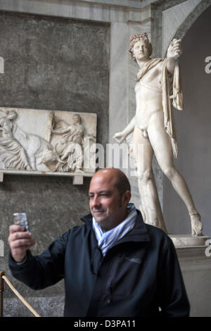 Famous classical marble sculpture Apollo Belvedere  Pythian Apollo discovered in a dig in during the Renaissance - Stock Photo