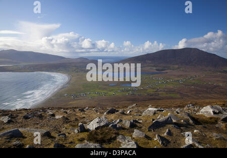 View across Achill Island towards Slievemore, from the Menawn Cliffs, County Mayo, Ireland. - Stock Photo