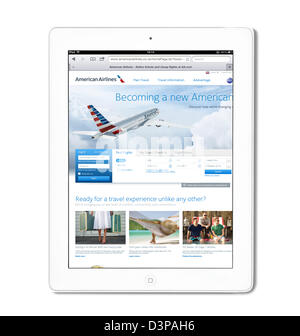 The American Airlines UK website viewed on a white 4th generation Apple iPad tablet computer - Stock Photo