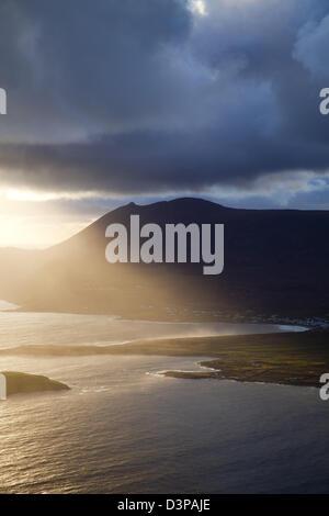 Evening light over Keel and Croaghaun mountain, Achill Island, County Mayo, Ireland. - Stock Photo