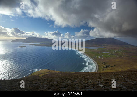 View across Achill Island towards Croaghaun, from the Menawn Cliffs, County Mayo, Ireland. - Stock Photo