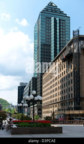 Downtown Spring scene on McGill Avenue in Montreal, Quebec - Stock Photo