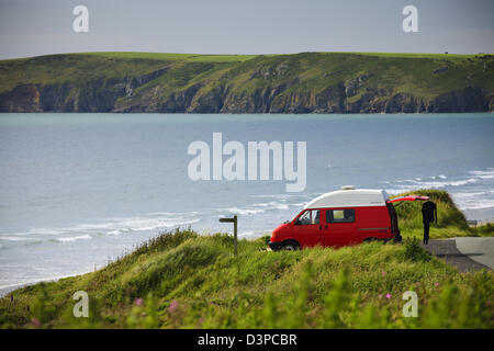 Camper Van Newgale St Brides Bay Haverfordwest Pembrokeshire Wales - Stock Photo