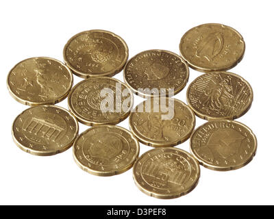 Eleven different Euro 20 cent coins on white background - Stock Photo