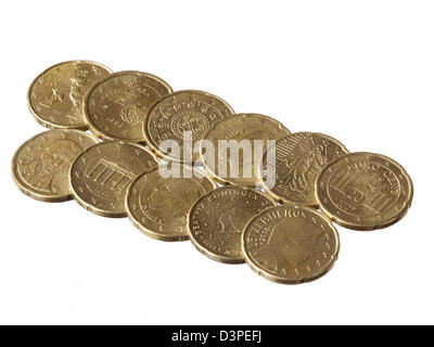 Eleven different 20 Euro cent coins on white background - Stock Photo