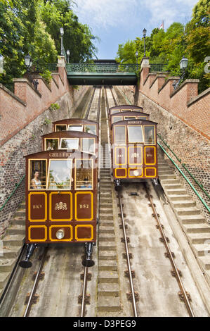 Buda Castle Funicular railway, Castle District, Pest side of the Danube, Central Budapest, Hungary, Europe eu - Stock Photo