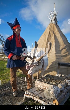 Laplander and Tent in North Cape - Stock Photo