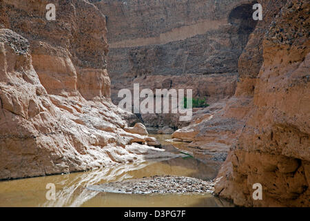 Sesriem canyon carved by the Tsauchab rivier in the Namib Desert, Namib-Naukluft National Park, Namibia, South Africa - Stock Photo