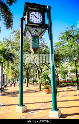 The City Square Park Clock in downtown Sarasota Florida, moved here in 1992 but originally hung on Palmer's Bank - Stock Photo
