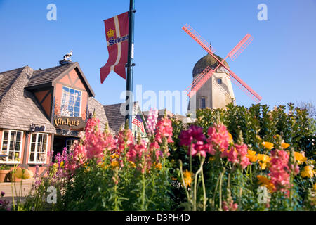 Scenic Solvang is one of the most picturesque and appealing visitor destinations in the Santa Ynez Valley of north - Stock Photo