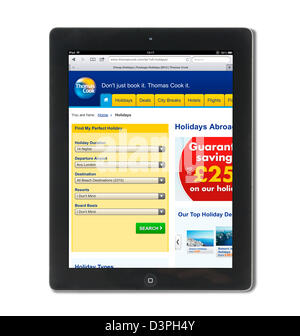 Booking a holiday on the Thomas Cook holidays website, UK - Stock Photo