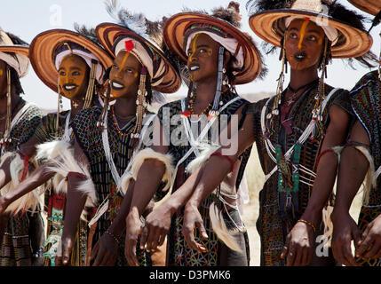 Wodaabe men dance at Gerewol festival near Ingal, Nothern Niger