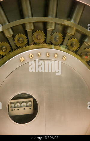 Large bank vault safe in a shop window on Fifth 5th Avenue in New York - Stock Photo