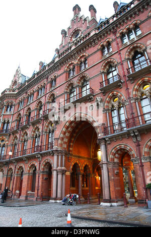 The ornate facade of St Pancras International railway station London England UK - Stock Photo