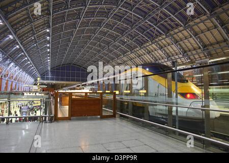 A Eurostar train stationary at St Pancras International railway station London England UK - Stock Photo