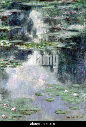 Claude Monet, Pond with Water Lilies 1907 Oil on canvas. Israel Museum, Jerusalem - Stock Photo