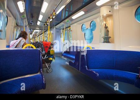 Interior view of Hong Kong Disneyland Train, Lantau Island, Hong Kong, China - Stock Photo