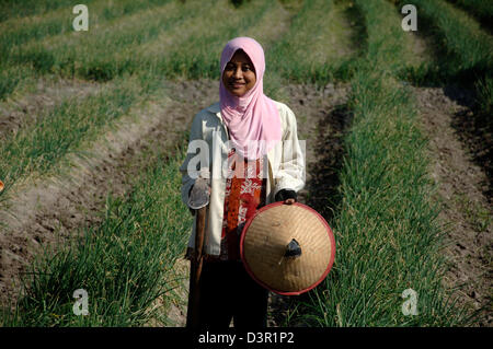 Portrait of female farm worker; Binti Ernawati (32) in a field, Kediri, East Java. - Stock Photo