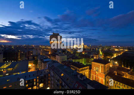 Aerial View of the Skyline of Milan (Milano, Italy), with Velasca Tower - Stock Photo