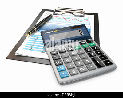 Financial concept. Stock chart with calculator and pen. - Stock Photo