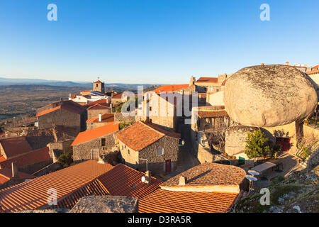 Small Town Monsanto in Portuguese Mountains at Evening sunlight - Stock Photo