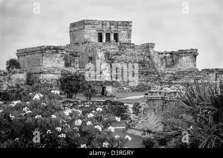 El Castillo at Tulum Maya ruins, Yucatan Peninsula, Mexico. - Stock Photo