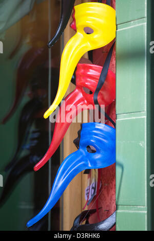 Traditional Venetian Carnival Masks for sale in a shop in Venice Italy - Stock Photo