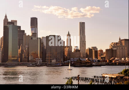 Sunset View of Lower Manhattan and The South Street Seaport from Brooklyn Pier