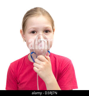 The girl with a mask for inhalations - Stock Photo