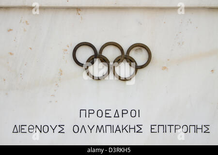 The Panathenaic Stadium or Panathinaiko also known as the Kallimarmaro, meaning the 'beautifully marbled'), is an - Stock Photo