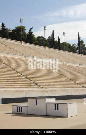 The Panathenaic Stadium or Panathinaiko also known as the Kallimarmaro, meaning the 'beautifully marbled'), is an - Stock Photo