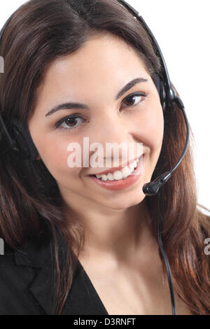 Beautiful and happy telephonist woman in a white isolated background - Stock Photo
