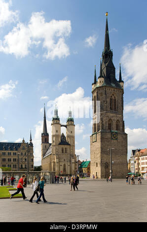 Halle / Saale, Germany, the market place in Hall - Stock Photo