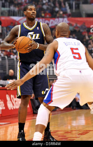 Los Angeles, CA., USA. 23rd Feb, 2013. Jazz' Marvin Williams during the NBA Basketball game between the Utah Jazz - Stock Photo