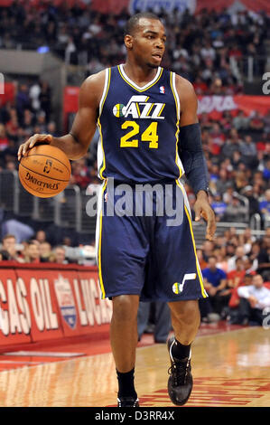 Los Angeles, CA., USA. 23rd Feb, 2013. Jazz' Paul Millsap #24 during the NBA Basketball game between the Utah Jazz - Stock Photo