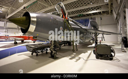 The English Electric Lightning, supersonic jet fighter aircraft, at the Royal Air Force (RAF) Museum, London, England, - Stock Photo