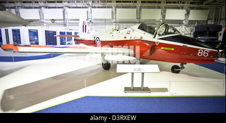 The BAC Jet Provost, British jet-powered trainer aircraft, on display at the Royal Air Force (RAF) Museum, London, - Stock Photo