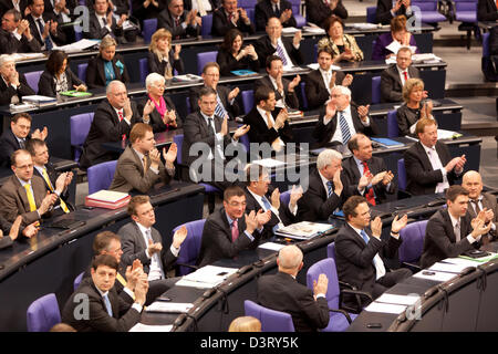 Berlin, Germany, in parliament at question time to the Bundestag Guttenberg Plagiatsvorwuerfen - Stock Photo