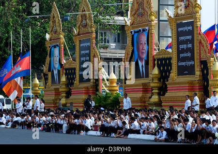 Cambodians Mourn the loss of King Norodom Sihanouk in Phnom Penh, Cambodia on Friday, Feb. 1st, 2013. credit: Kraig - Stock Photo