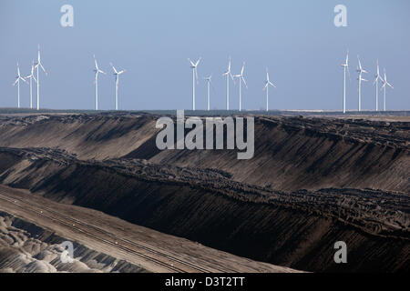 Peitz, Germany, tailings pond and wind wheels of Vattenfall Europe AG - Stock Photo
