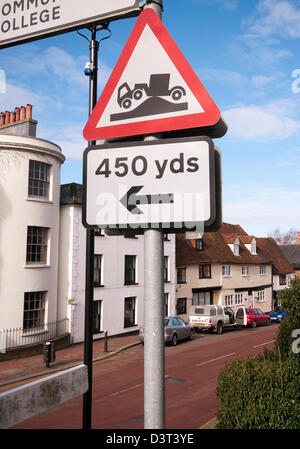 Danger Of Grounding For Long vehicles Road Traffic Sign UK Signs - Stock Photo