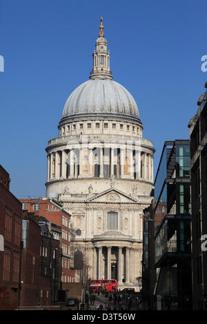 St Paul's Cathedral seen from the Millennium Bridge, City of London, England, UK, GB - Stock Photo