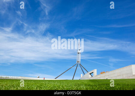 View of Parliament House flagpole from The rooftop lawn. Canberra, Australian Capital Territory (ACT), Australia - Stock Photo