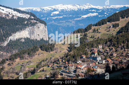 A view of Swiss village Wengen in the Bernese Oberland - Stock Photo